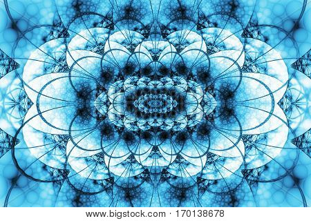 Abstract Intricate Lacy Ornament In Blue Colors. Fantasy Fractal Background. Digital Art. 3D Renderi