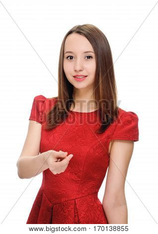 young woman showing sign symbol of money by fingers