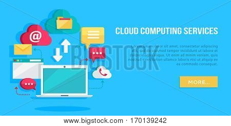 Cloud computing services banner. Networking communication and data icons near laptop. Data protection, global storage service and online cloud storage, security and privacy, online communication