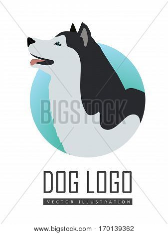 Dog logo vector illustration of Husky or Alaskan Malamute isolated on white. General name for a sled-type of dog. Energetic and athletic breed canine. Cartoon puppy. Home pet. Vector illustration
