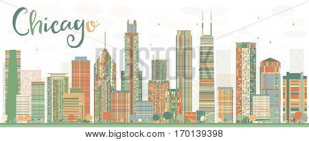 Abstract Chicago Skyline with Color Buildings. Vector Illustration. Business Travel and Tourism Concept with Modern Architecture. Image for Presentation Banner Placard and Web Site.