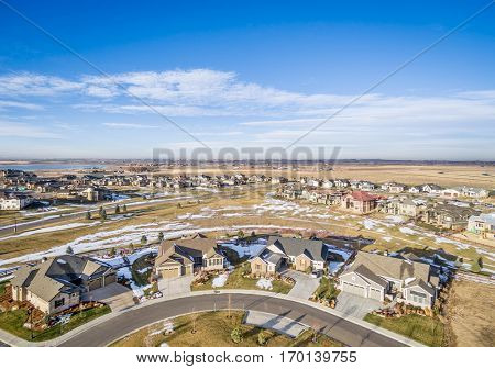 real estate aerial photography - a new house development along Colorado's Front Range