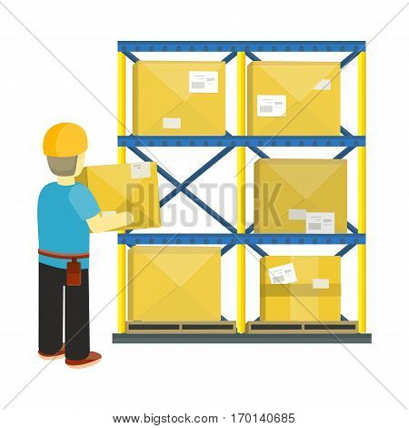 Transportation and saving goods in warehouse or shop storage.  Vector in flat style. Worker taking box from shelf. Equipment for storage products in stock. Parcels on the shelves of the post office.