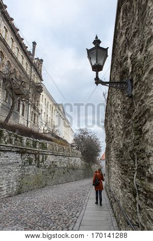little cobble stone street near Tallin's old city walls, Estonia