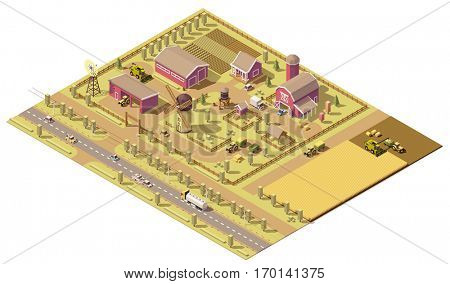 Vector isometric low poly farm. Farm buildings and agricultural equipment and farming machinery