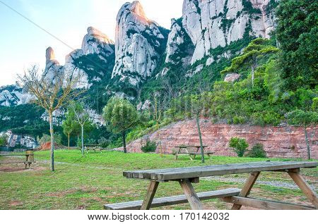 Spain. Catalonia. Road in Santa Maria de Montserrat Abbey. Picnic area and a viewing area on the mountain of Montserrat.