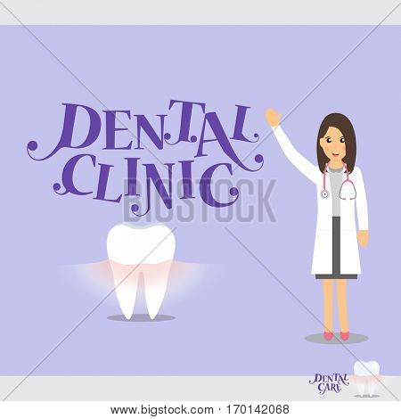 Cartoon Dentist with Healthy Clean Teeth. Vector illustration.