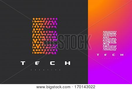 E Letter Logo Science Technology. Connected Dots Letter Design Vector with Points.