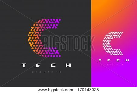 C Letter Logo Science Technology. Connected Dots Letter Design Vector with Points.