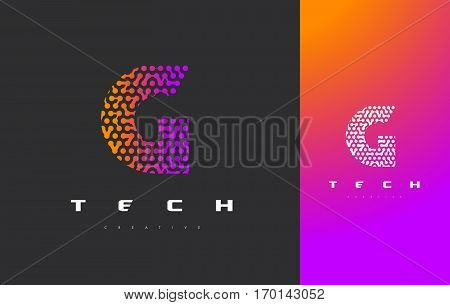 G Letter Logo Science Technology. Connected Dots Letter Design Vector with Points.