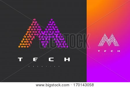 M Letter Logo Science Technology. Connected Dots Letter Design Vector with Points.