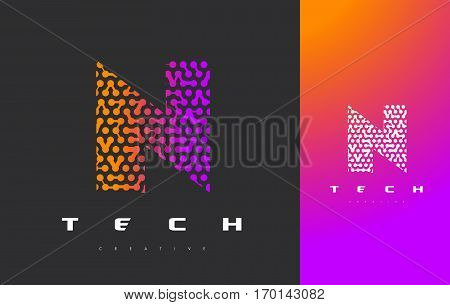 N Letter Logo Science Technology. Connected Dots Letter Design Vector with Points.