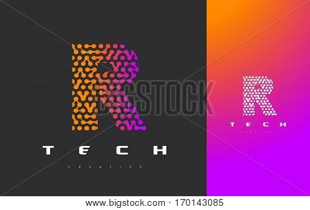 R Letter Logo Science Technology. Connected Dots Letter Design Vector with Points.
