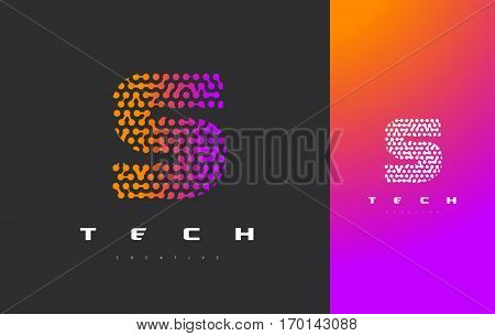 S Letter Logo Science Technology. Connected Dots Letter Design Vector with Points.