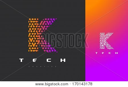 K Letter Logo Science Technology. Connected Dots Letter Design Vector with Points.
