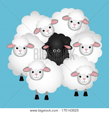 Scalable vectorial image representing a Black sheep in a crowd of white sheeps on blue background.