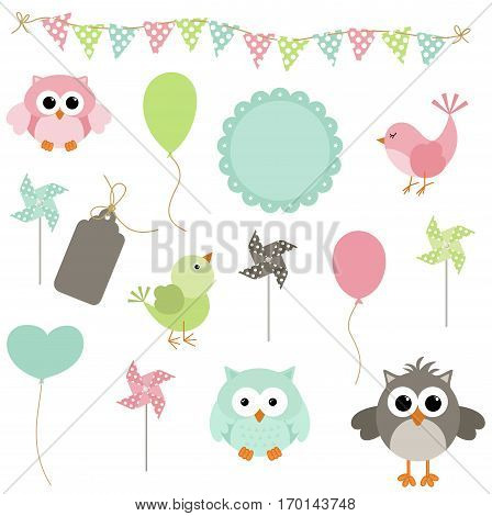 Scalable vectorial image representing a digital birds and owls party, isolated on white.