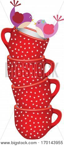 Scalable vectorial image representing a stack of red tea cups with hearts and birds, isolated on white.