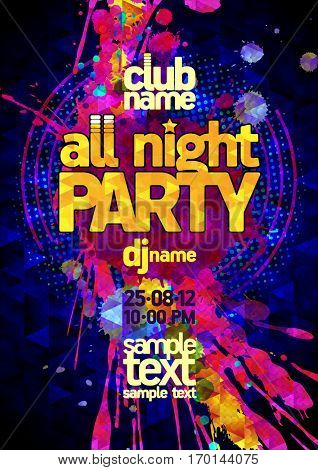 All night party poster concept, vibrant pink and yellow blots, modern text, copy space for text