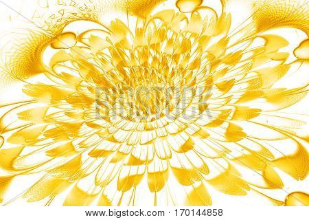 Abstract Exotic Flower With Textured Petals On White Background. Fantasy Fractal Design In Bright Ye