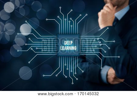 Deep structured learning and hierarchical learning - methods based on learning representations of data. Businessman or programmer with abstract symbol of a chip with text deep learning connected with data represented by points.