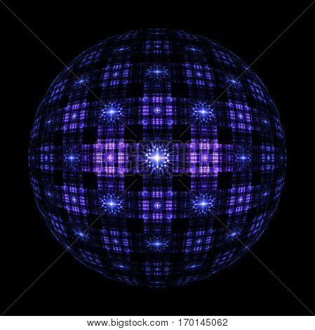 Abstract Ornamented Sphere On Black Background. Fantasy Fractal Design In Deep Blue And Purple Color