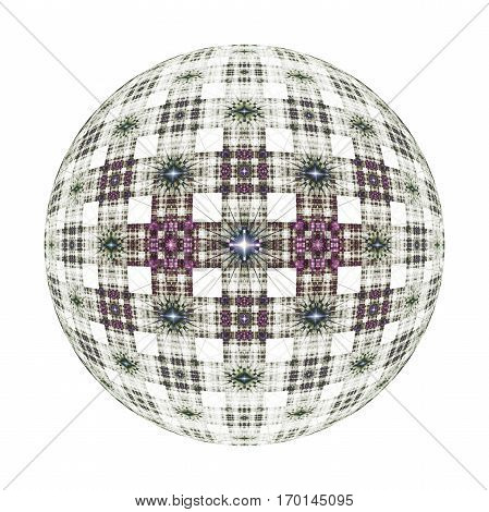 Abstract Ornamented Sphere On White Background. Fantasy Fractal Design In Dark Pink And Grey Colors.