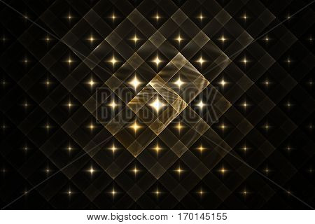 Abstract Geometric Ornament With Glowing Sparkles On Black Background. Fantasy Fractal Design In Gol