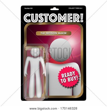 Customer Action Figure Toy Find New Client Buyer 3d Illustration