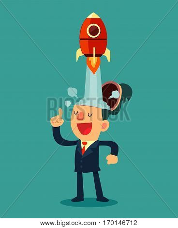 Successful businessman with rocket ship launching from his head. Business idea start up concept.