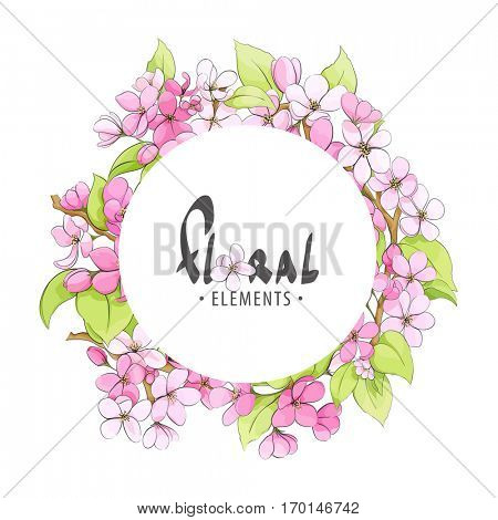 Round frame of fragrant flowers of apple trees with place for your inscription