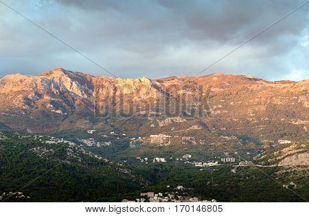Budva mountain view sunset light