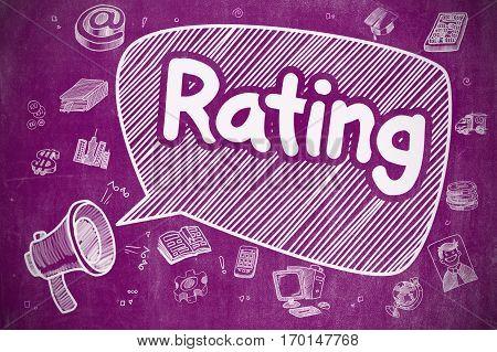 Rating on Speech Bubble. Cartoon Illustration of Shouting Loudspeaker. Advertising Concept. Business Concept. Loudspeaker with Wording Rating. Cartoon Illustration on Purple Chalkboard.