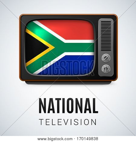Vintage TV and Flag of South Africa as Symbol National Television. Tele Receiver with flag design