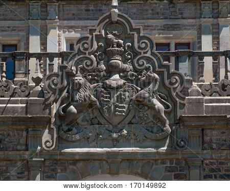 SHIMLA, INDIA. 8 Jun 2009: Stone coat of arms of the Viceroy of India, Shimla. The former residence of British Viceroy of India. Shimla, Himachal Pradesh, India.