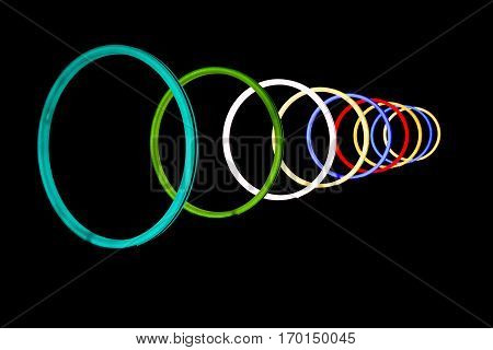 Abstract shiny colorful and hypnotic neon light circles with black background