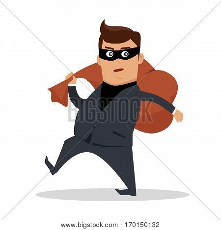 Money stealing concept vector. Flat design. Financial crime, tax evasion, money laundering, political corruption illustration. Robbery. Man in a business suit, in mask carrying a bag of money on back.