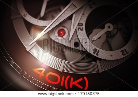 401k - Defined Contribution Pension Account - Inscription on Automatic Men Wristwatch with Visible Mechanism, Clockwork Close Up. Luxury, Mens Vintage Accessory. Time and Work Concept. 3D.
