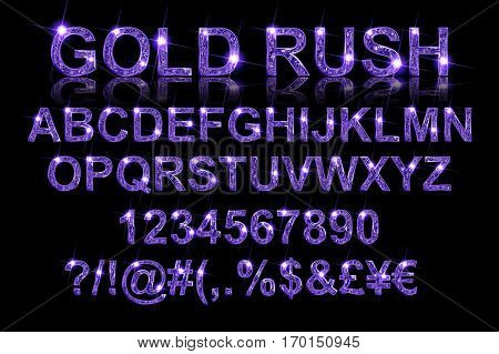 Gold Rush. Gold Violet Alphabetic Fonts