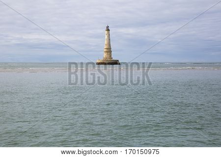 view of the historical lighthouse of Cordouan Gironde estuary France