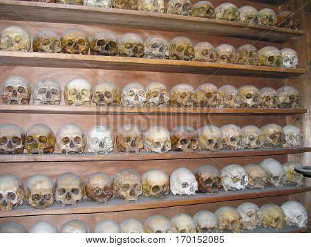 Meteora Greece - June 25 2007: The skulls of the dead monks in Meteora.