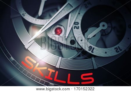 Elegant Wrist Watch with Skills Inscription on Face. Skills on the Face of Old Watch Machinery Macro Detail Monochrome. Business and Work Concept with Lens Flare. 3D Rendering.