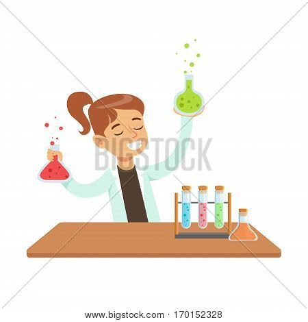 Girl Chemist and Chemical Experiment, Kid Doing Science Research Dreaming Of Becoming Professional Scientist In The Future. Part Of Series With Children Working In Different Scientific Fields Vector Illustrations.