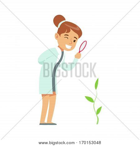 Girl Botanist Studying Plant, Kid Doing Botany Science Research Dreaming Of Becoming Professional Scientist In The Future. Part Of Series With Children Working In Different Scientific Fields Vector Illustrations.