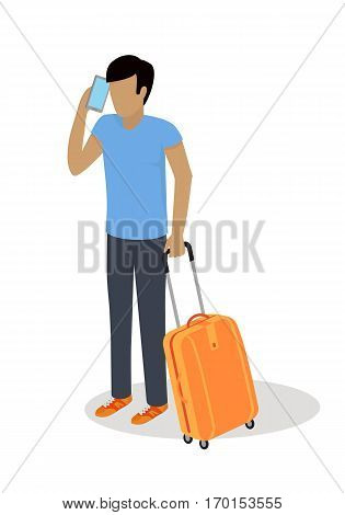 Traveler character icon. Man in casual clothes with trolley suitcase talking on phone template vector illustration isolated on white background. For travel concepts, app, logo, infographic design