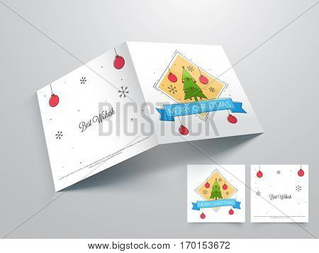 Beautiful Merry Christmas Celebrations Greeting or Invitation Card Design.