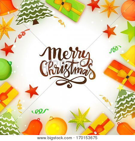 Merry Christmas Celebrations Concept with colorful gift boxes, xmas trees, xmas balls and stars.