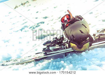 Pro Skiing Equipment on the Snow. Winter Sport.