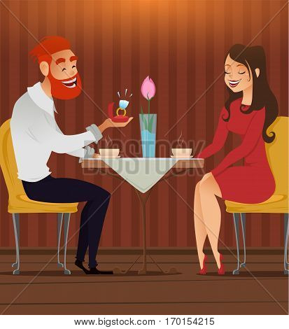 Couple in love romantic evening in restaurant or cafe young man presents ring with big diamond to his beloved beautiful woman. Date. Present on Valentines day 8 March engagement wedding.