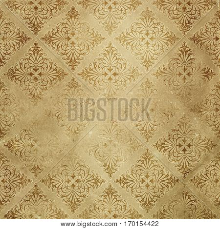 Aged dirty paper background with decorative old-fashioned patterns. Vintage paper texture for the design.